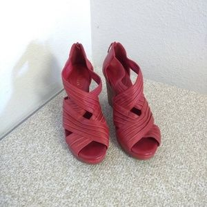 Cole Haan Red Leather Wedge Sandals